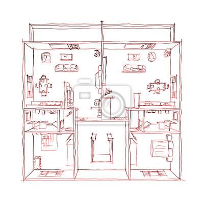 Obraz 2d Rysunek Odręczny Szkic Wnętrza Umeblowane Mieszkanie W Domu