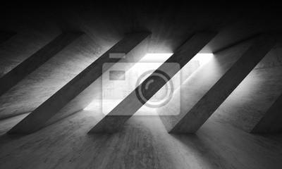 Obraz 3 d ciemne wnętrze z betonowych słupów ukośnych