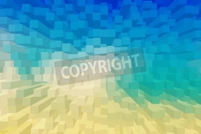 Obraz 3 D poli niebo niebieskie tło.