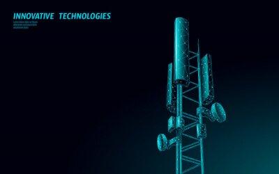 Obraz 3d base station receiver. telecommunication tower 5g polygonal design global connection information transmitter. Mobile radio antenna cellular vector illustration