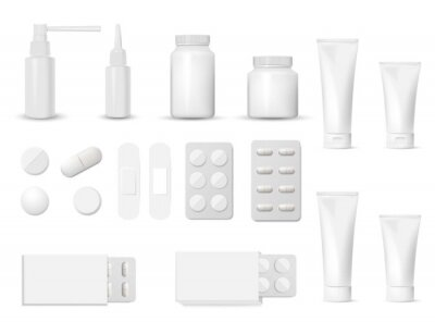 Obraz 3d blank pharmaceutical packs: blister of pill and capsules, tube, container for tablet, bottle for drugs isolated on white background. Vector illustration.