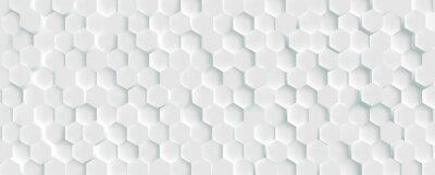 Obraz 3D Futuristic honeycomb mosaic white background. Realistic geometric mesh cells texture. Abstract white vector wallpaper with hexagon grid