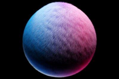 Obraz 3d illustration blue pink fluffy ball on black  isolated background. fur pompon