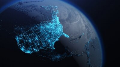 Obraz 3D illustration of USA and North America from space at night with city lights showing human activity in United States