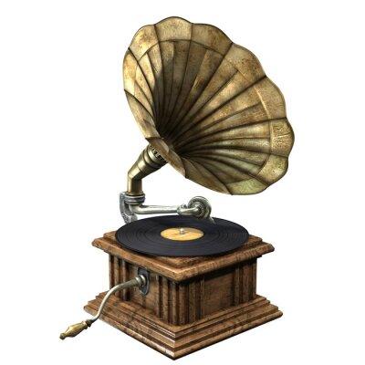 Obraz 3D ilustracja rocznika i klasyka gramofon odizolowywający na białym tle