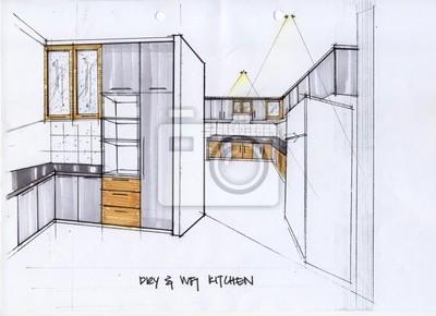 Obraz 3d Ilustracji Szkic Do Kuchni Na Wymiar Republika Projekt