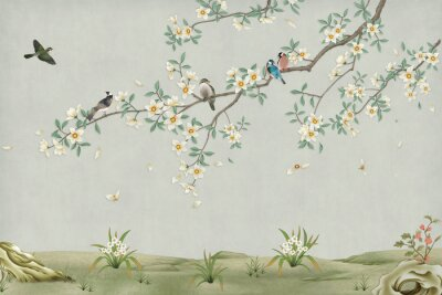 Obraz 3d marble mural background light simple green wallpaper . birds in branches flowers floral background with flowers and herbs
