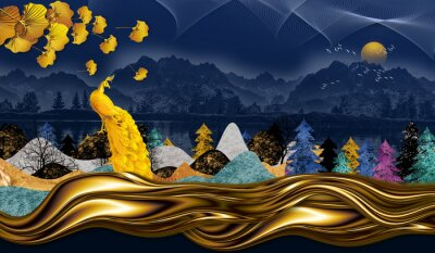 Obraz 3d modern art mural wallpaper with dark blue Jungle, forest  dark blue background colorful christmas tree, mountain , golden peacock and moon with white birds . Suitable for use as a frame on walls .