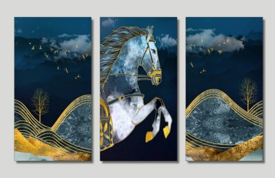 Obraz 3D mural wallpaper suitable for wall frame canvas print .horse and golden trees with colored mountains . golden trees and birds with dark modern background