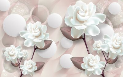 Obraz 3d mural wallpaper with simple floral background . modern flowers in simple wall. white circle in light background