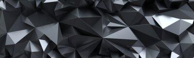 Obraz 3d odpłacają się, abstrakcjonistyczny czarny krystaliczny tło, fasetowana tekstura, makro- panorama, szeroka panoramiczna poligonalna tapeta