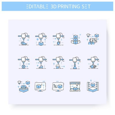 Obraz 3d printing line icons set line icon. 3d modeling and rendering process. Additive Manufacturing, fabber technology in different industries. Isolated vector illustration. Editable stroke
