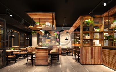 Obraz 3d rende render luxury restaurant cafe
