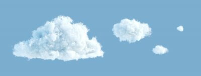 Obraz 3d render, abstract cloud shapes isolated on blue background, cumulus clip art