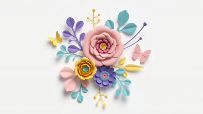 Obraz 3d render, abstract cut paper flowers isolated on white, botanical background, festive floral arrangement. Rose, daisy, dahlia, butterfly and leaves in pastel color palette. Simple modern wall decor