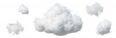 Obraz 3d render. Abstract fluffy white clouds isolated on white background. Weather forecast symbol. Cumulus clip art set collection. Sky design elements set