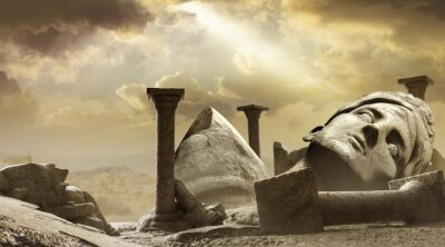 Obraz 3d render background illustration of ancient greek temple ruins with female goddess statue with clouds and sun ray.