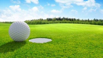 Obraz 3d render Close up of golf ball on green in golf course. sport background.