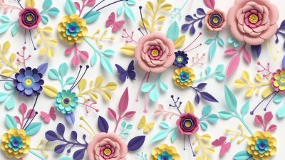 Obraz 3d render, horizontal floral pattern. Abstract cut paper flowers isolated on white, botanical background. Rose, daisy, dahlia, butterfly, leaves in pastel colors. Modern decorative handmade design