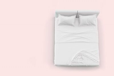 Obraz 3d render top view of white bed with white pillow cover and white bed sheet and blanket for mockup with a pastel pink background