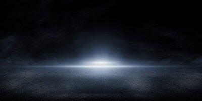 Obraz 3D Rendering abstract asphalt light in dark street and smoke on black background