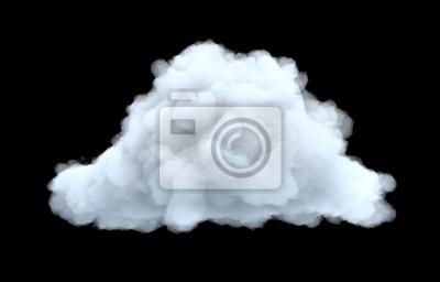 Obraz 3d rendering biała nieporęczna cumulus chmura na czarnym tle.