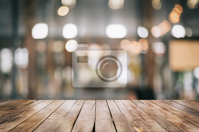 Obraz 3D Rendering, Empty wooden table top with lights bokeh on blur restaurant background