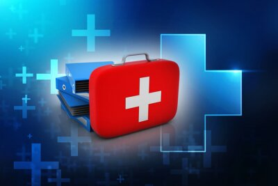 Obraz 3d rendering First aid kit with hospital folder