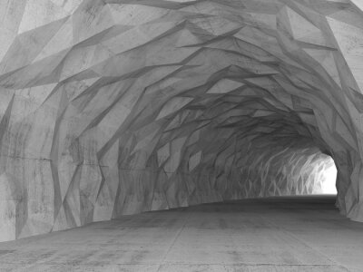 Obraz 3d tunelu wnętrze z chaotycznym wielokąta ulgi