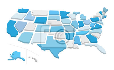 Obraz 3d usa map with separated states. Vector illustration