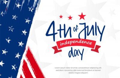 Obraz 4th of July, USA, United States of America independence day celebration design on grunge American vintage flag background use for sale banner, discount banner, advertisement banner, social media etc.