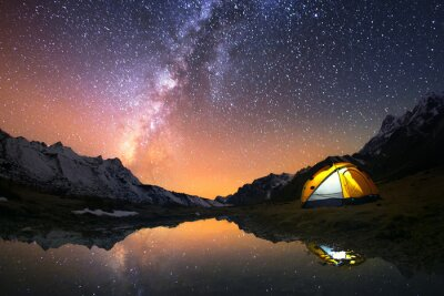 Obraz 5 Billion Star Hotel. Camping in the mountains under the starry night sky.