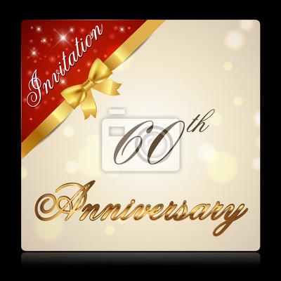 Obraz 60 Lat Złoty Etykieta Urodziny Rocznica Dekoracyjny