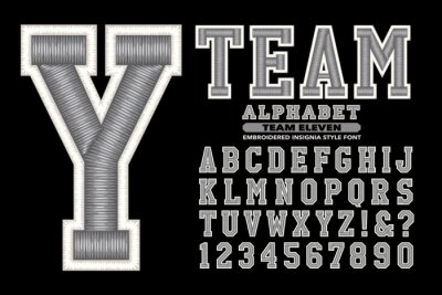 Obraz A Collegiate or Sports Styled Alphabet with Embroidered Thread Effects; This Font is Suited to Sports Team Names and Collegiate Wear