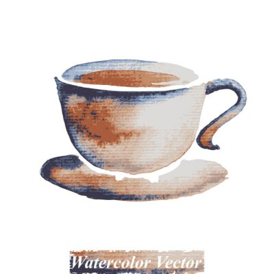 Obraz A cup of coffee watercolor,vector