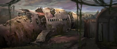 Obraz A digital illustration of an abandoned plane wreck with texture brushstroke technique.