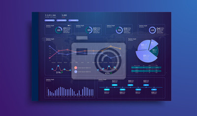 A modern infographic template for a website or mobile application.Information Graphics elements for UI UX design. Flat design responsive Management and Administration Dashboard. Trends elements.Vector