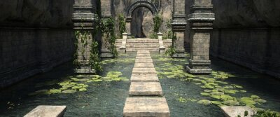 Obraz A pool with water lilies and stone steps in the old temple. Photorealistic 3D illustration. Beautiful authentic landscape.