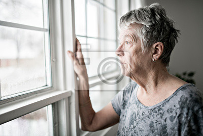 Obraz A sad lonely 70 years old senior in is apartment
