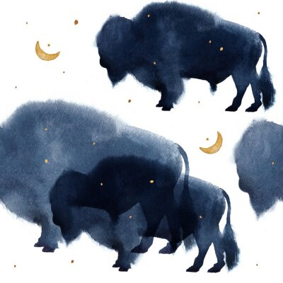 Obraz A seamless pattern with watercolor realistic bison silhouette on white background
