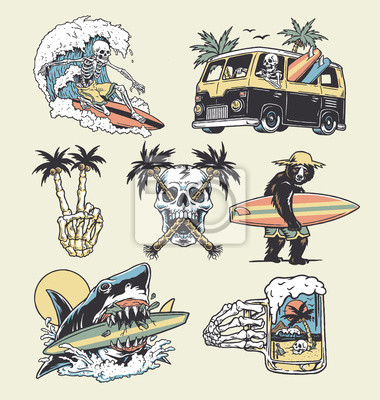 Obraz A set of edgy surf and beach illustrations. For t-shirts, stickers and other similar products.