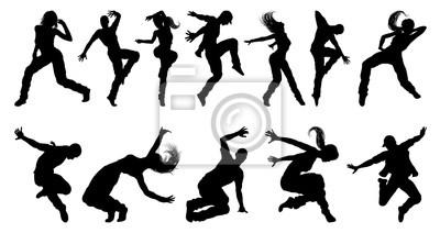 Obraz A set of men and women street dance hip hop dancers in silhouette