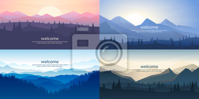 Obraz A set of mountain vector landscapes in a flat style. Natural wallpapers are a minimalist, polygonal concept. Sunrise, misty terrain with slopes, mountains near the forest