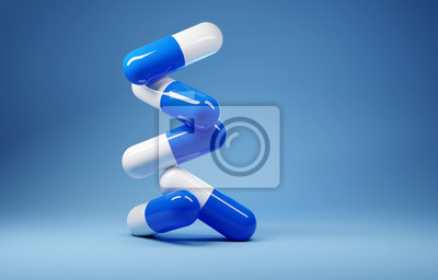 Obraz A stack of antibiotic pill capsules on a blue background. 3D render illustration.