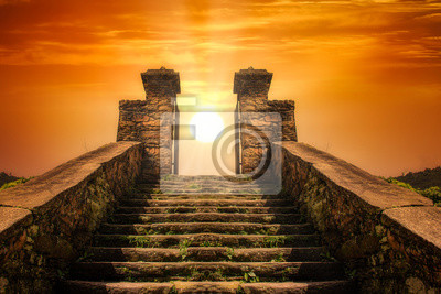 Obraz A stairway  toward to the sun like a portal to the heaven