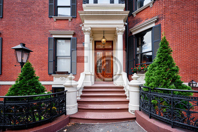 Obraz A view of a historic brownstone building in an iconic neighborhood of Manhattan, New York City