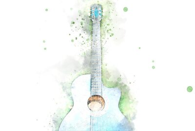 Obraz Abstract acoustic guitar on green grass on watercolor illustration painting background.