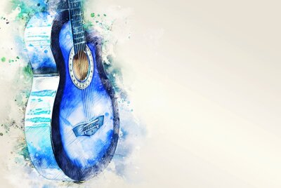Obraz Abstract acoustic guitar on watercolor illustration painting background.