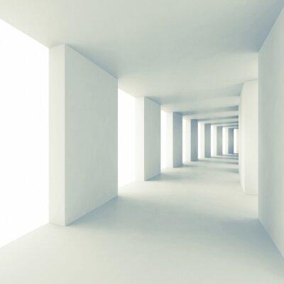 Obraz Abstract architecture 3d background, empty white corridor