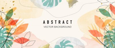 Obraz Abstract art background vector. Luxury minimal style wallpaper with golden line art flower and botanical leaves, Organic shapes, Watercolor. Vector background for banner, poster, Web and packaging.